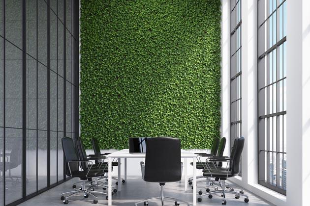 decoração de parede de grama artificial em sala de reunião