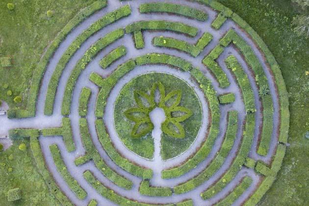 parede de grama artificial com arte geométrica