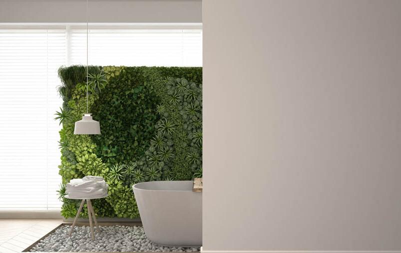 muro inglês decorado com grama sintética